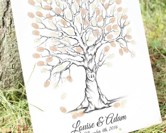 Mariage - Thumb Print Wedding Tree Guest Book Alternative Fingerprint Guestbook, Unique Guest Book Ideas, Custom Guest Book, fingerprint tree