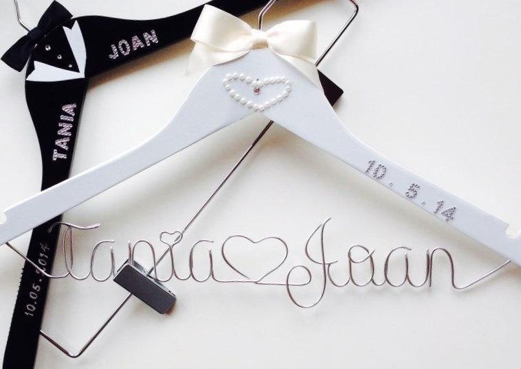 Wedding - Customizable Bride & Groom Package, Customizable Personalized Pants, Skirt, Dress, Veil and Tuxedo  Hangers