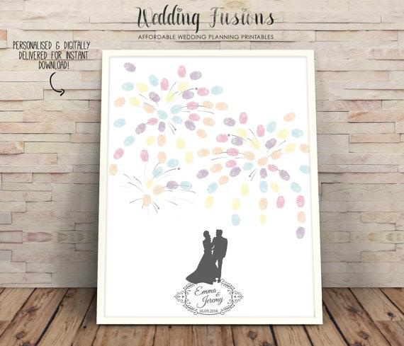 Wedding - guestbook printable, guestbook alternative, Wedding decor, Wedding Guest Book, Wedding ideas, fingerprint fireworks tree, wedding silhouette