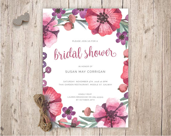 Wedding - bridal shower invitations, bridal shower invites, floral bridal shower invitation, pink purple bridal shower invites flowers floral idea