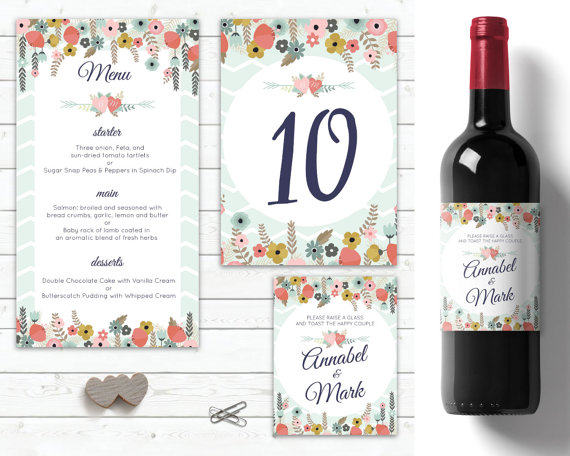 Wedding - mint green and floral wedding table decorations, personalised wine labels wedding, customised menu wedding table numbers, wedding menu