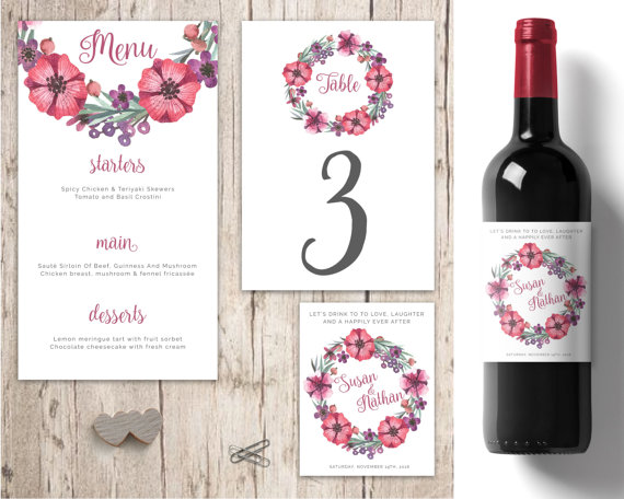 Wedding - Pink and Purple Wedding table decorations, personalised wedding wine labels, wedding menu, wedding wreath, wedding decor table numbers