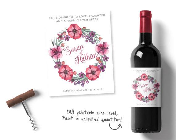 Wedding - Personalised wedding wine, Personalised Wine Labels, floral Wine Label, Printable Label, Bohemian Wedding Stationary, Wine Label pink purple