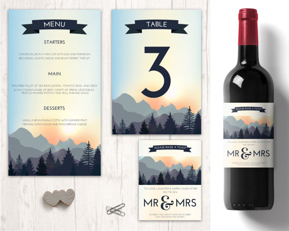 nature wedding table decorations personalised wine labels wedding