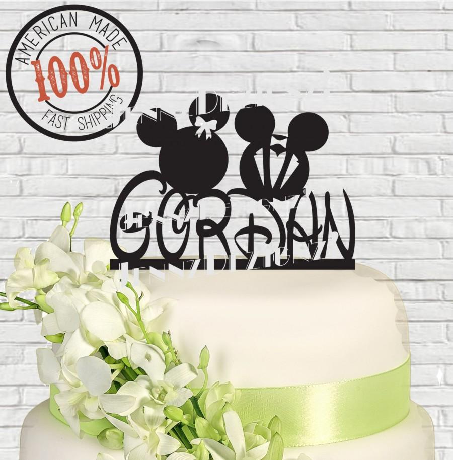 Surname, Last Name Mickey And Minnie Mouse Wedding Cake Topper Made ...