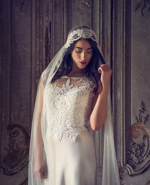 Mariage - Ivory Juliet Cap Veil ,Vintage Bridal Veil, Chapel Length Veil, Waltz Lenth Veil, Ballet Length Veil, Showstopping Dramatic Wedding Veil