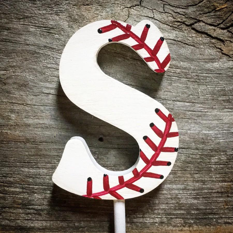 Baseball Themed Wedding Cake Topper Wood Single Monogram Decoration Party Reception