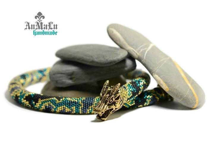 """Свадьба - Beaded Crochet Necklace """"Emerald Dragon"""" • Beaded Crochet Necklace • Emerald Black Silver • Choker necklace • Beadwork necklaces • Jewelry"""
