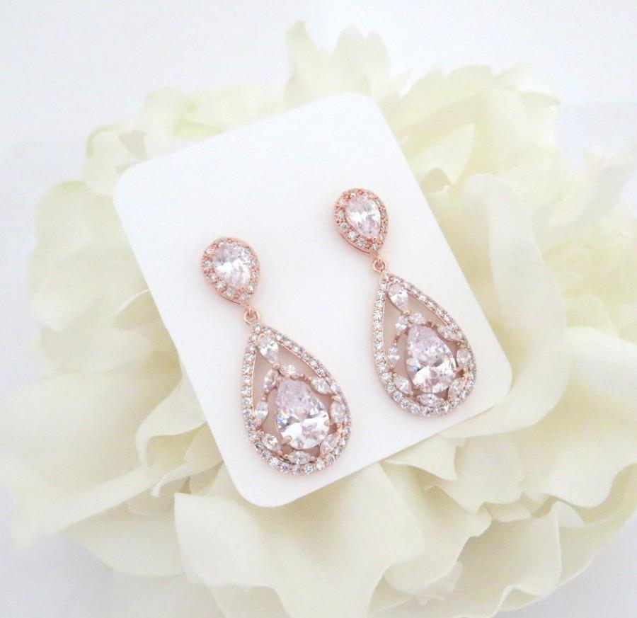 Rose Gold Bridal Earrings, Rose Gold Wedding Jewelry, CZ Earrings ...