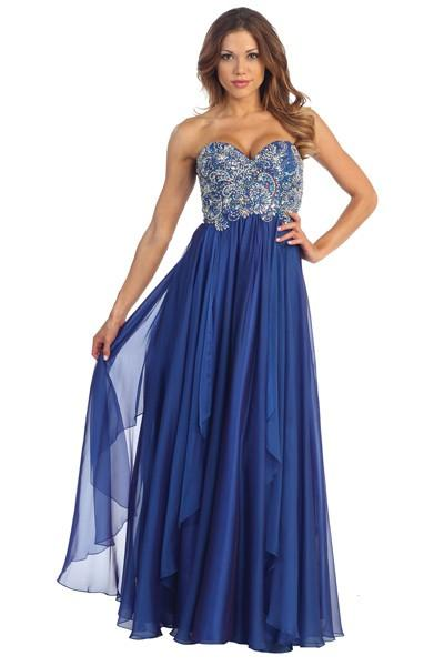 Wedding - Chiffon Prom Dress with Layered Skirt in Sapphire - Crazy Sale Bridal Dresses