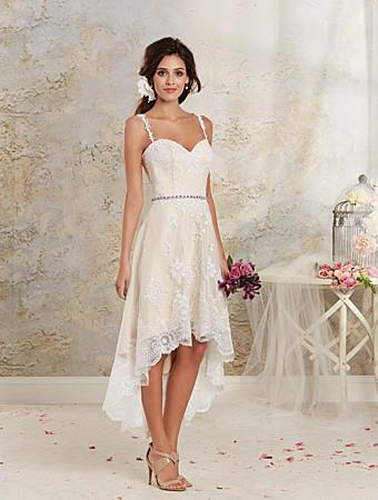 Wedding - Alfred Angelo 8535NT Lace High Low Wedding Dress - Crazy Sale Bridal Dresses