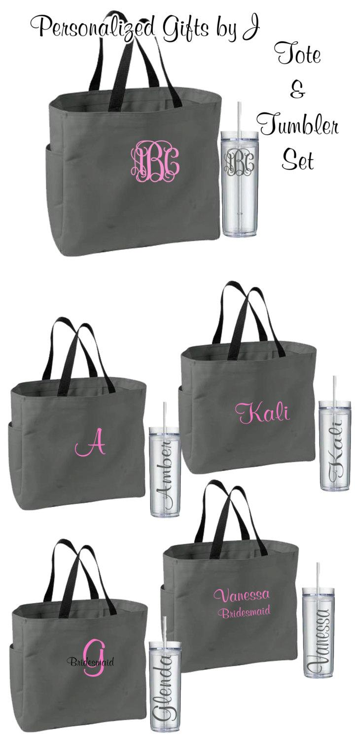10 Personalized Bridesmaid Tote Bags And Tumblers