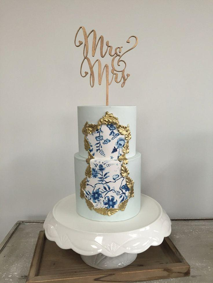 "Mariage - ""Mr And Mrs"" Antic Rustic Wedding Cake Topper"