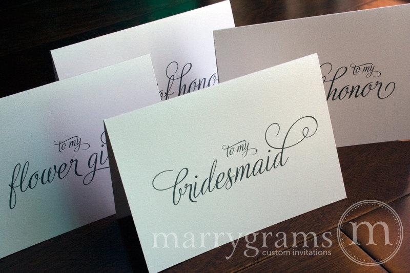 Hochzeit - Bridesmaid Cards, Maid of Honor, Wedding party... Wedding Thank You Cards perfect with a Gift -  Bridal Party Thank You Notes (Set of 7)
