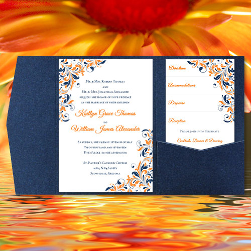 """Mariage - DIY Pocketfold Wedding Invitations """"Kaitlyn"""" Orange Navy Blue Printable Word Templates Instant Download Order Any 1 or 2 Colors  You Print"""