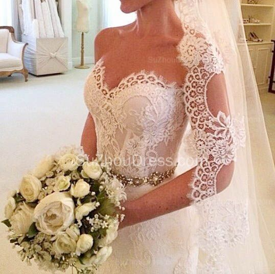 Wedding - Lace Mermaid Sweetheart Wedding Dresses Crystals Beaded Belt Court Train Bridal Gowns _New Trumpet/Mermaid Wedding Dress_Trumpet/ Mermaid Wedding Dresses_Wedding Dresses_Buy High Quality Dresses From Dress Factory