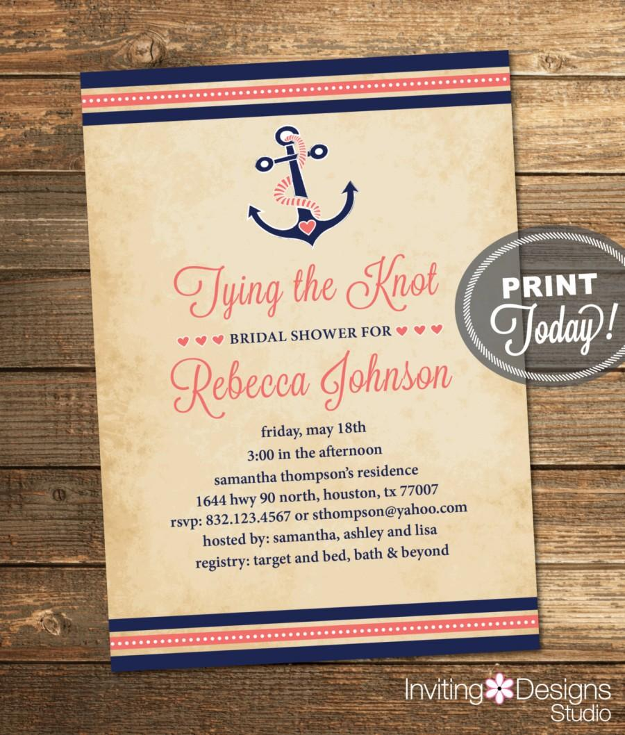 Wedding - Nautical Bridal Shower Invitation, Tying the Knot, Anchor, Navy Blue, Coral, Destination Wedding, Printable File (Custom, INSTANT DOWNLOAD)