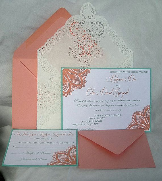Wedding - Coral Peach N Turquoise Blue Aqua Teal Blue Lace Wedding Invitation Doily Lace Envelope Lace Wedding Invitation Invitation Custom Any Color