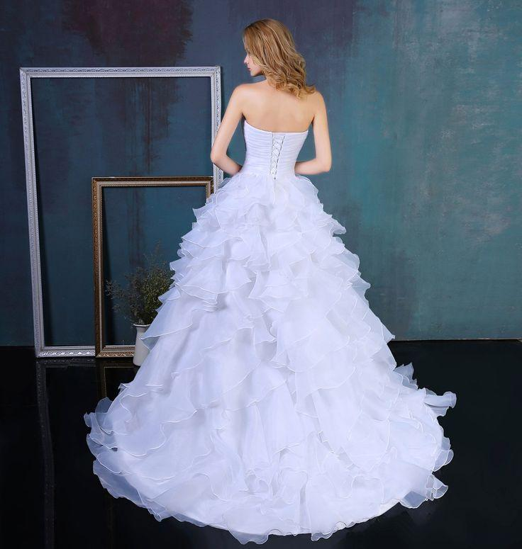 Mariage - Ruffles Beading Sweetheart Organza Wedding Dress