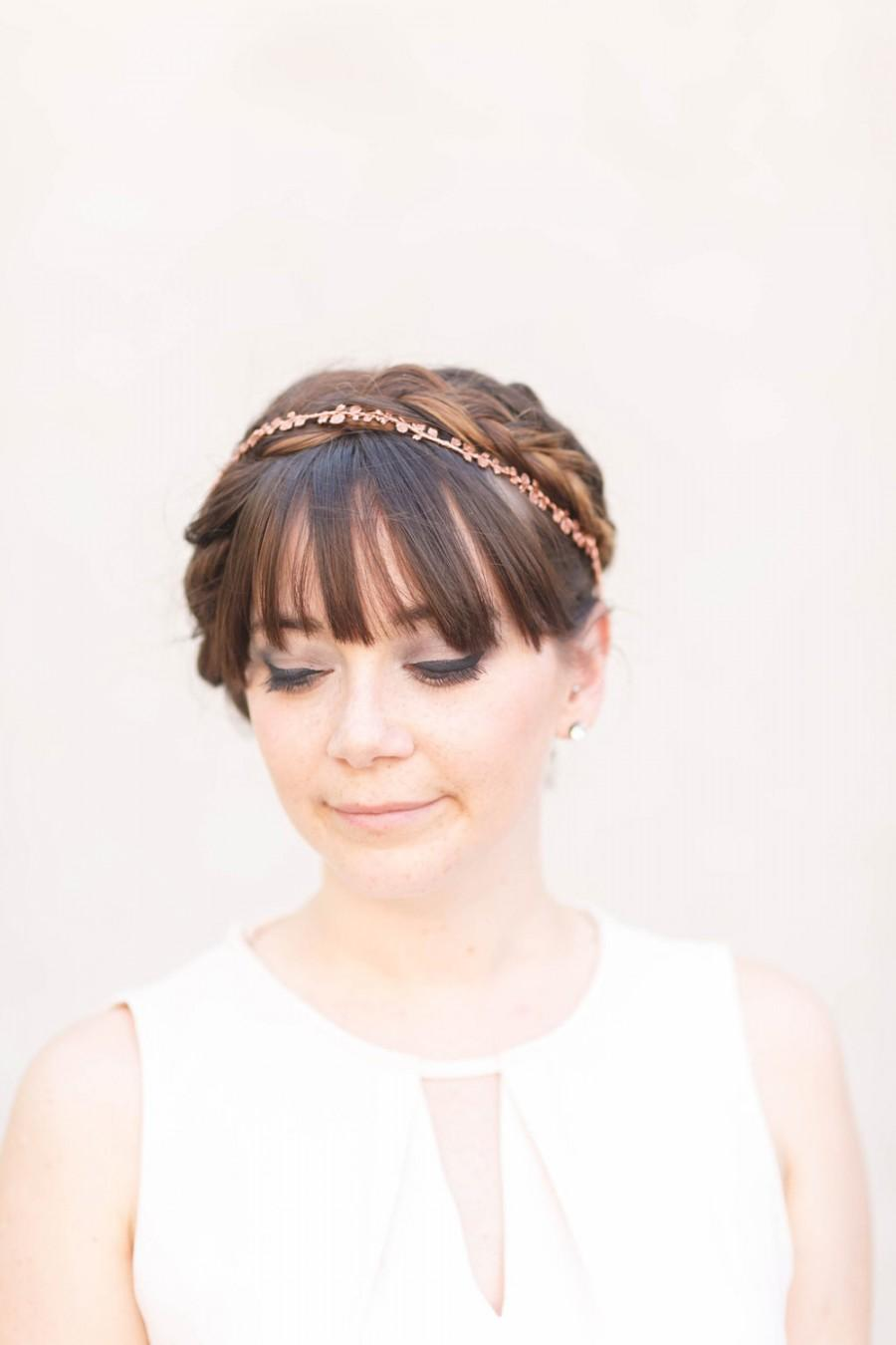 Wedding - The Rose Vine - Simple Golden or Rose Gold Brass Floral Crown, headband, halo, Boho