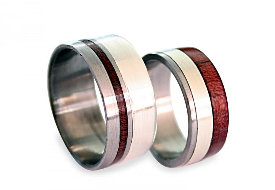 Wedding - Titanium Wedding Band Set, His And Hers Titanium Rings, Purple Heart Ring, Amaranth Wood And Silver Inlay, Silver Rings