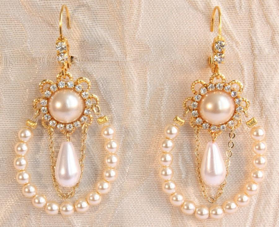 Gold pearl statement chandelier earrings chandelier design ideas aloadofball Choice Image
