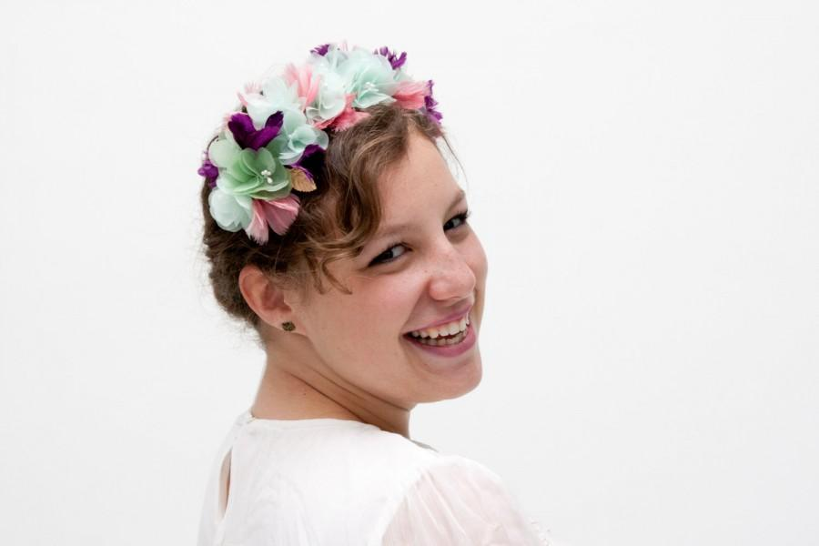 زفاف - Glasgow - Floral Crown made with flowers, feathers and leaves