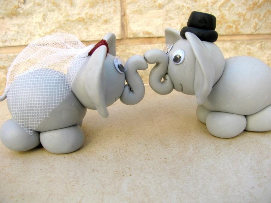 Mariage - elephant love - wedding cake topper