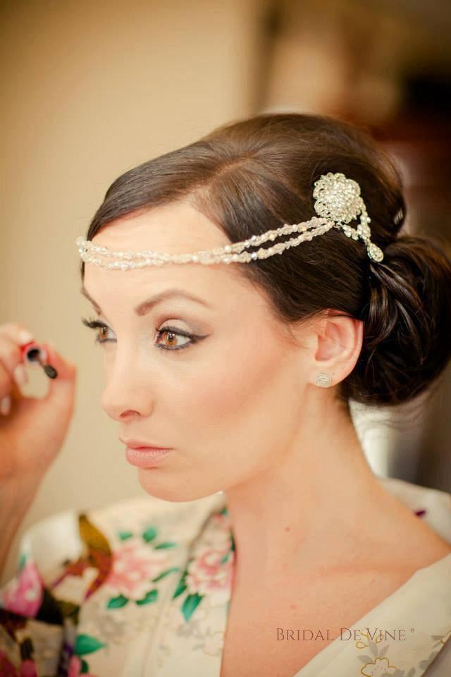 زفاف - Pearl Crystal Bridal Drape Double Hair Comb - Forehead Boho Vintage