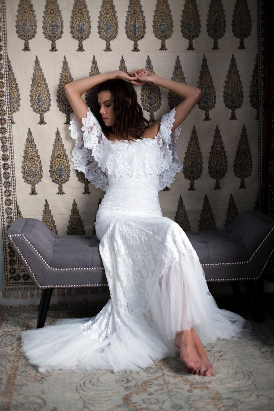 Off Shoulder Lace Bohemian Wedding Dress With Fl Detailing And Soft Tulle Hemline Lucy