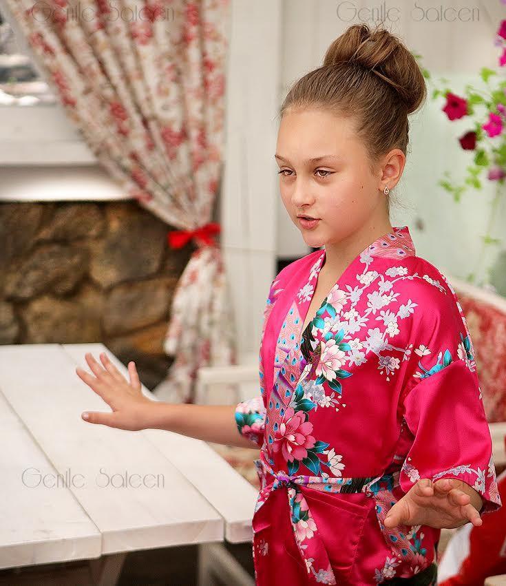 e574fed6d Flower Girl Robe, SPA PARTY ROBES for Girls, Birthday Spa Party, Children's  Spa Robe, Kimono Wrap Style Robe
