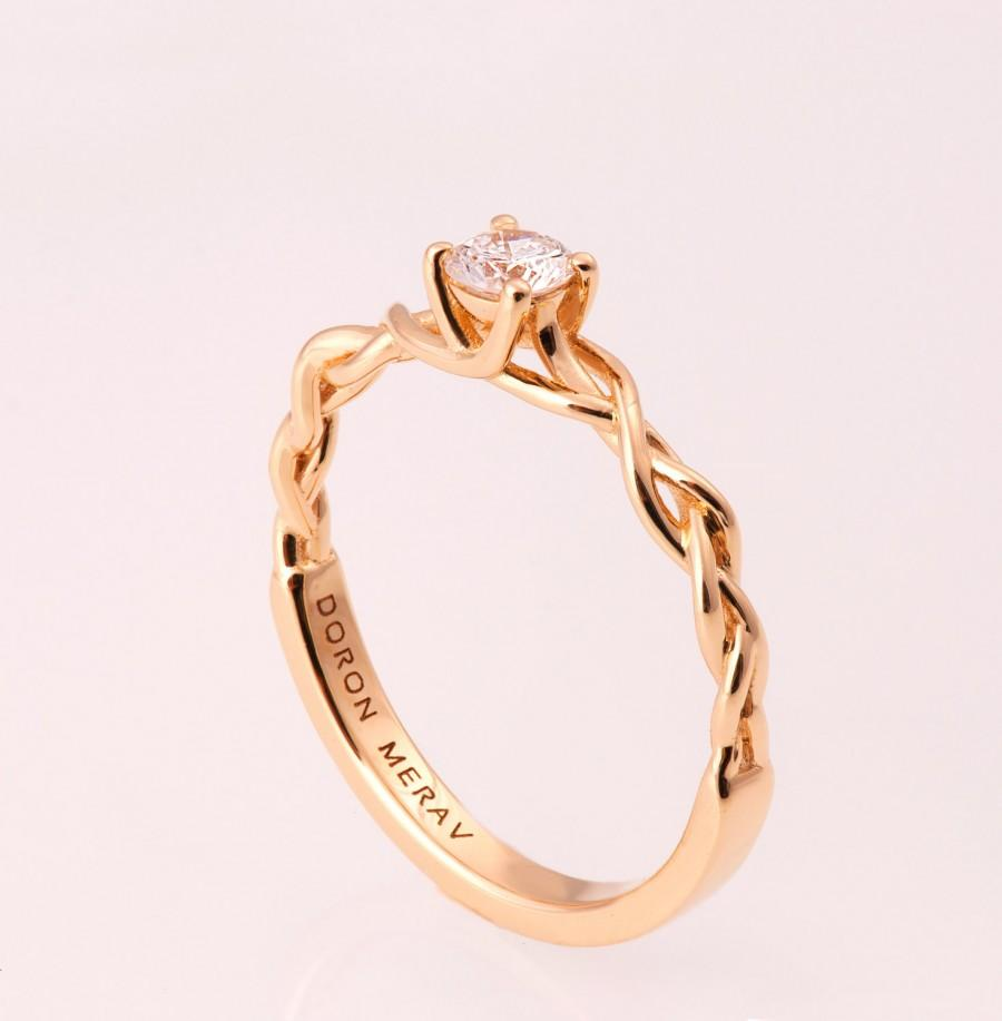 Braided Engagement Ring 2  14k Gold And Diamond Engagement Ring, Celtic  Ring, Rose Gold Engagement Ring,wedding Band,unique Engagement Ring