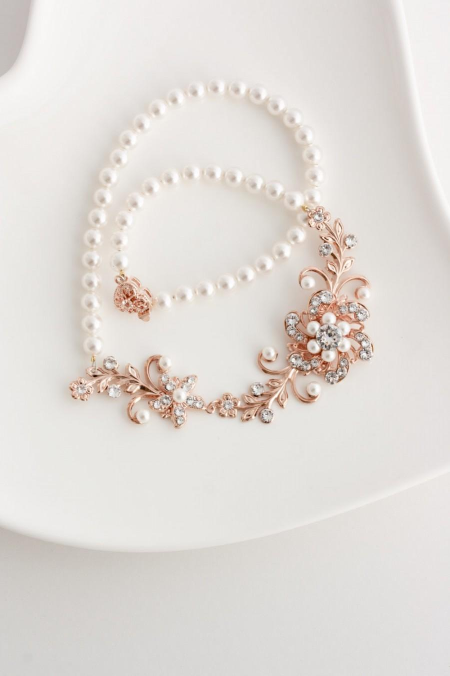 Mariage - Bridal Jewelry Rose Gold Wedding Necklace Pearl Bridal Necklace Flower Leaf Necklace Swarovski Crystal Rose Gold Jewelry SABINE GARDEN