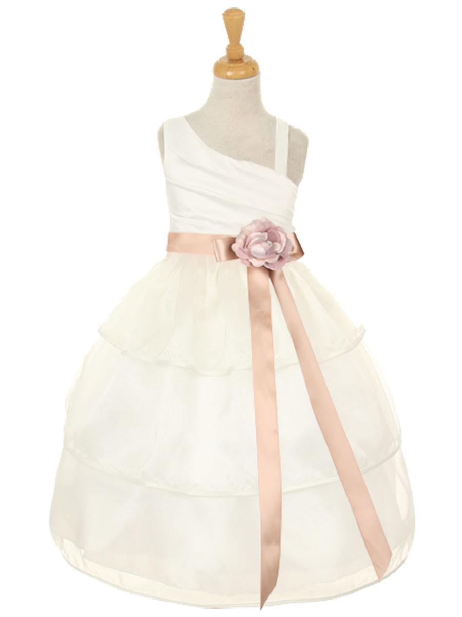 Hochzeit - Ivory One Shoulder Bodice w/ 3 Layered Trimmed Organza Skirt Style: D2047 - Charming Wedding Party Dresses
