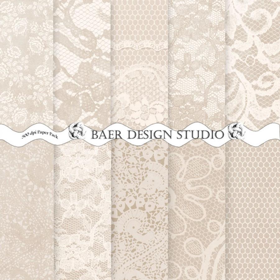 Hochzeit - Champagne Digital Paper, Lace Digital Paper, Digital Wedding Invitation, Ivory and Beige Lace Digital Paper, Dentelle, 8.5x11, #13066