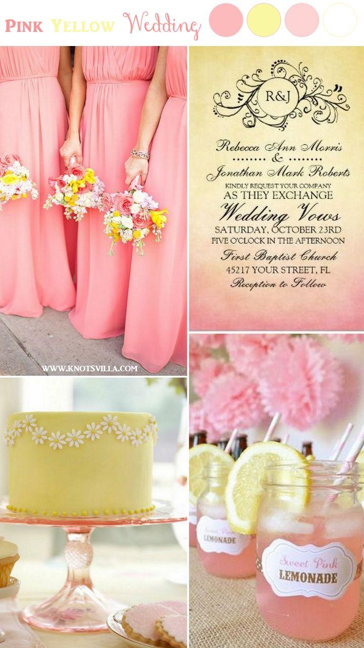 wedding theme pink and yellow wedding ideas 2574842
