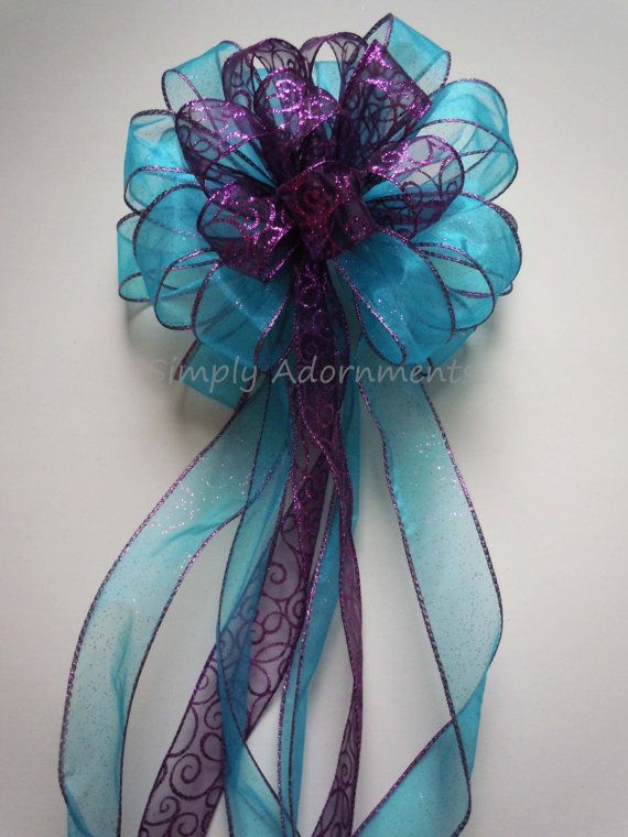 Wedding - Purple Blue Winter Wedding Pew Bow Christmas Tree Topper Bow Birthday Shower Party Decoration Bow Gift Bow