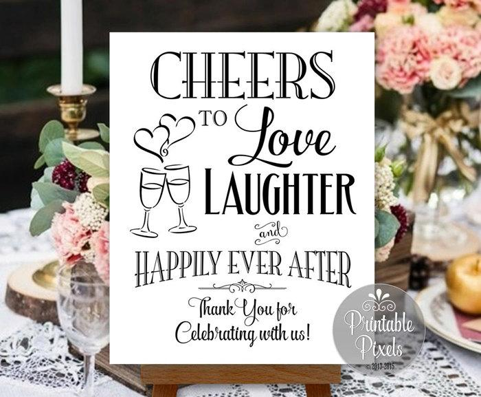 Mariage - Cheers To Love Laughter and Happily Ever After Printable Wedding Sign Digital Instant Download (#CHE1B)