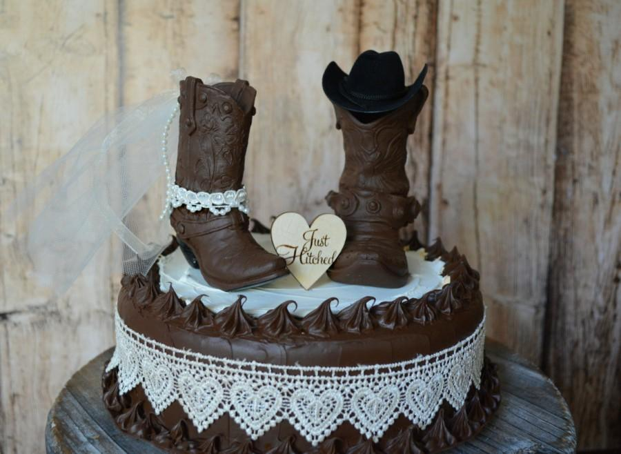 96e783f2f1a cowboy boot wedding cake topper Just hitched sign country barn weddings  cowgirl boot bride and groom western weddings bride and groom decor