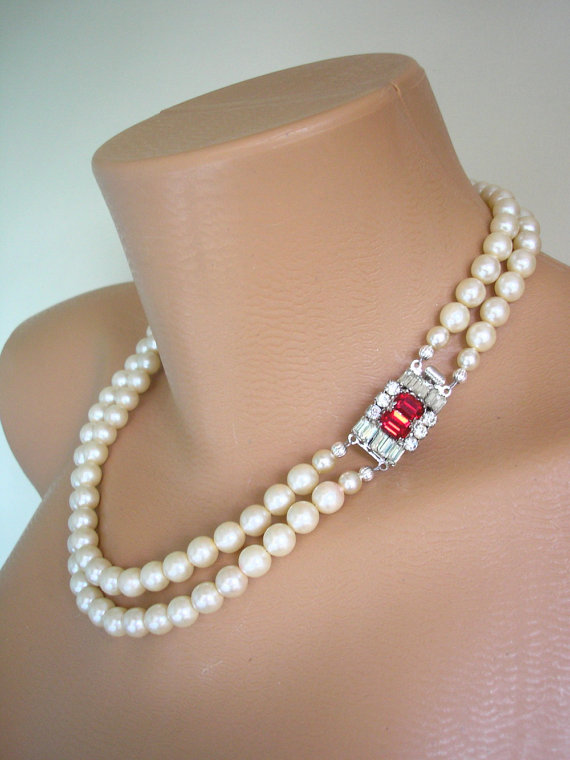 Mariage - Pearl and Ruby Bridal Necklace, Red Rhinestone, Wedding Necklace, Vintage Bridal Jewelry, Diamante, Cream Pearls, 2 Strand Pearls, Art Deco