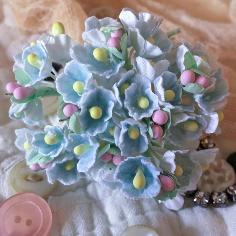 Mariage - Shabby Cottage French Style Forget Me Not Millinery Vintage Flowers - Pastel Blue