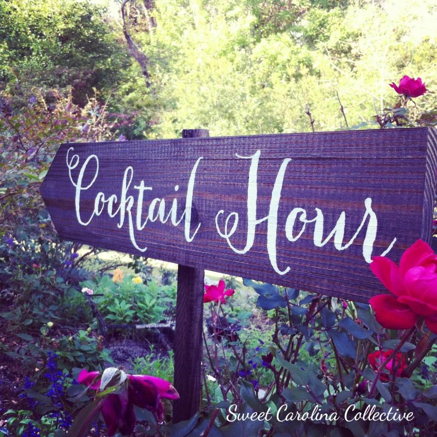 Свадьба - Wooden WEDDING SIGNS, Wedding Sign, Signage - Cocktail Hour - WS-39