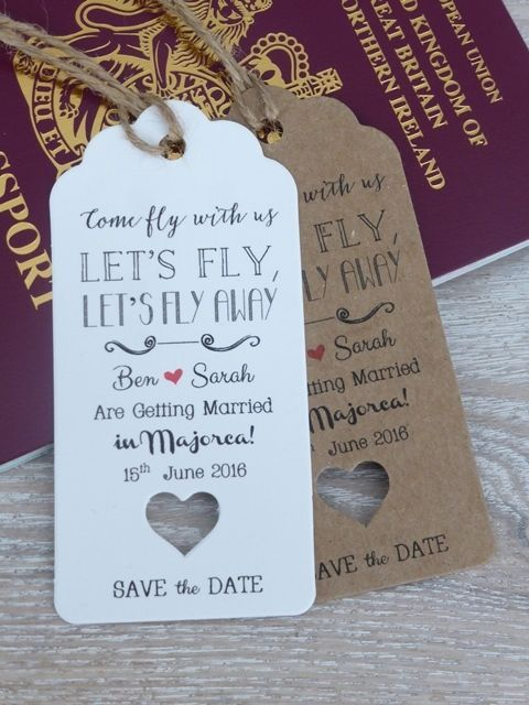 "Mariage - ""Lets Fly"" Save The Date For Wedding Abroad Invitation With Envelope"