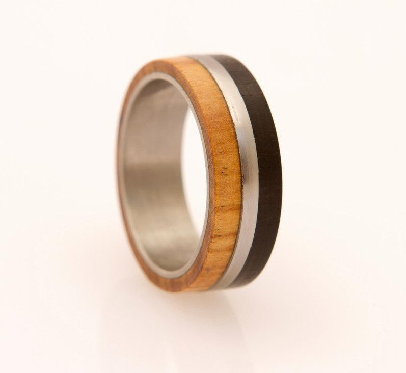 Mens wedding band titanium ring with wood ebony olive for Mens copper wedding rings