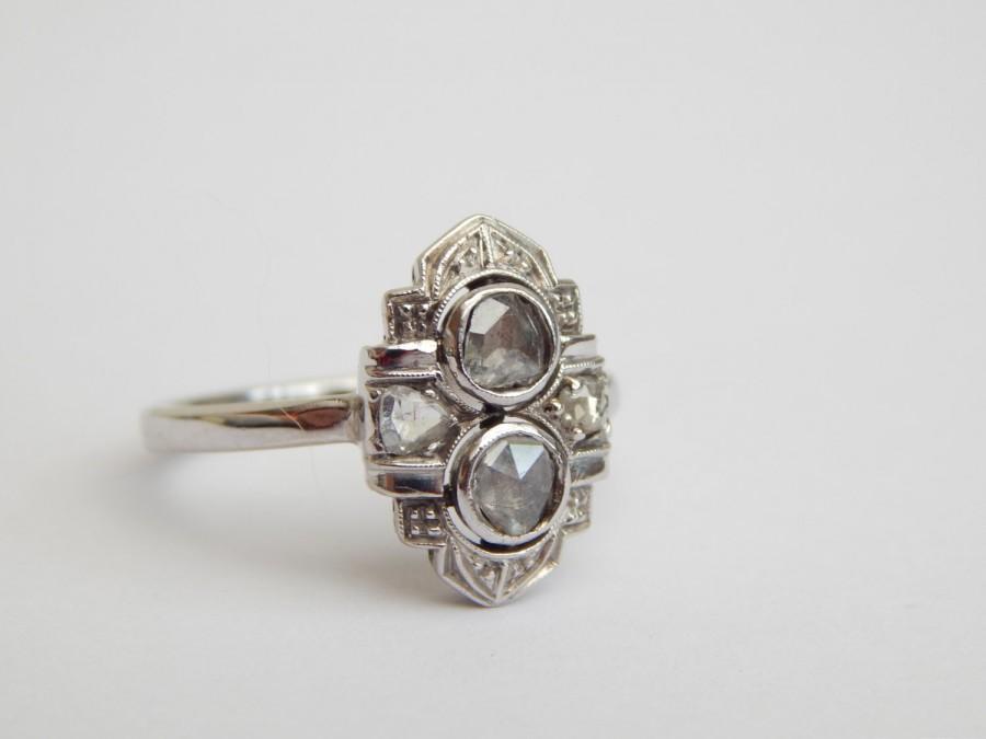 Mariage - art deco engagement ring - 0.60 carat diamond ring in 18ct white gold - art deco diamond rings