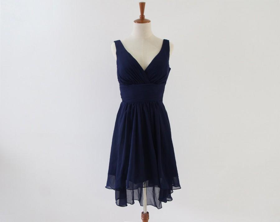 Свадьба - Navy Blue High Low Bridesmaid Dress Knee-length Chiffon V-neck Bridesmaid Dress-Custom Dress