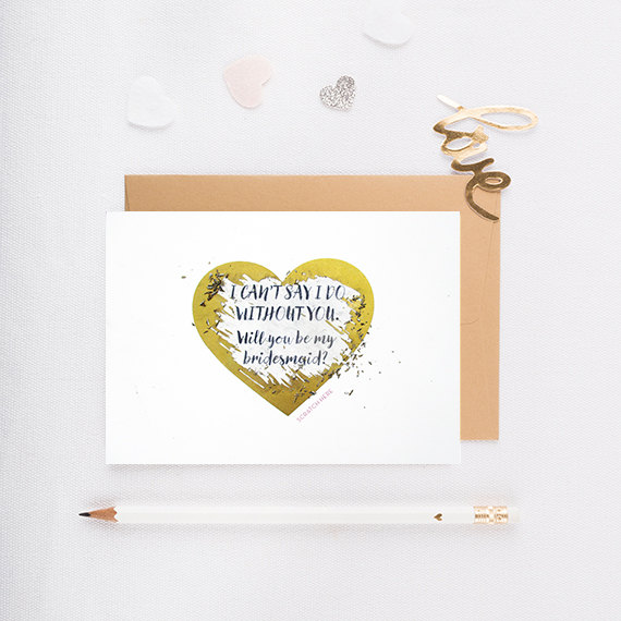 Hochzeit - Will You Be My Bridesmaid Scratch Off Card, Maid of Honor Card, Invitation, Wedding, Gold Heart, Scratch Off, Bridesmaid Proposal - GBM-02