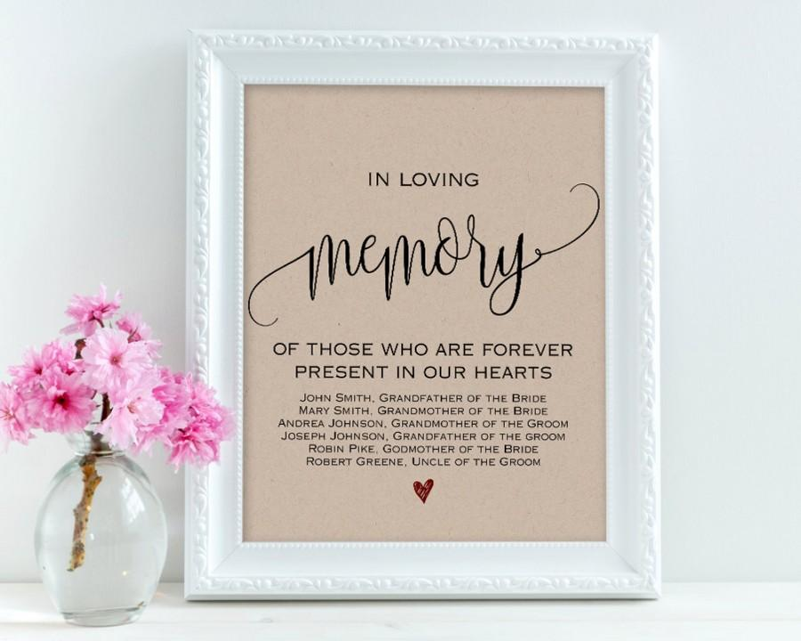 In Loving Memory, Wedding Signs, Personalized Sign, Memory Sign ...