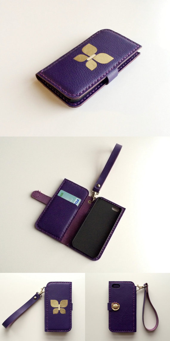 Wedding - iphone 6 / 6 plus wallet case iphone 5 5s wallet iphone 5c wallet iphone 4 4s wallet case leather iphone wallet leather phone case purple