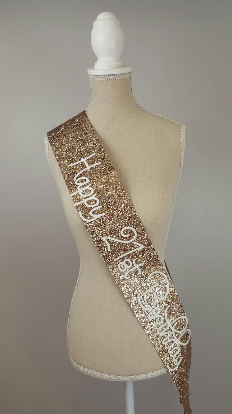 21st Birthday Sash - Glitter Sash - Personalised Sash - Any